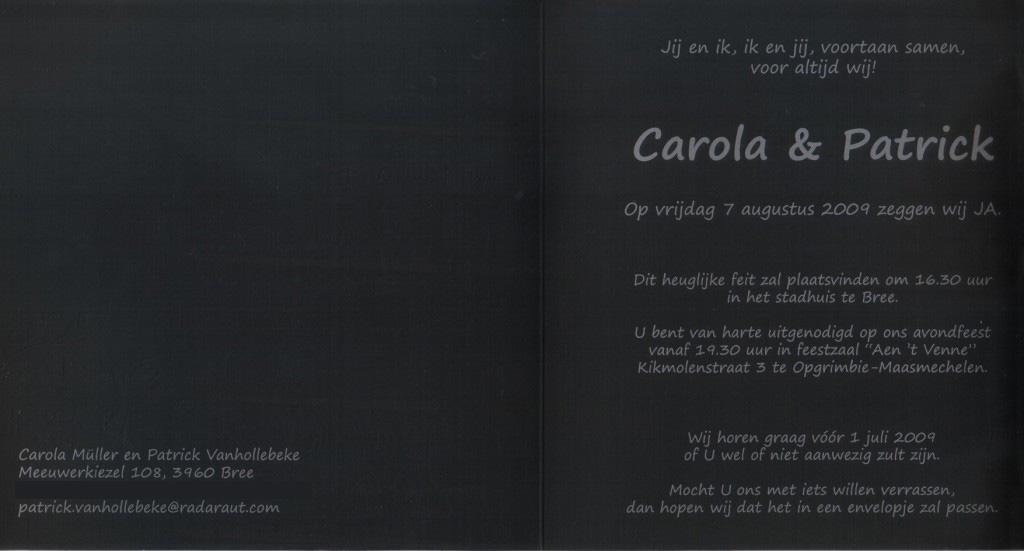 Huwelijk carola müller en patrick vanhollebeke
